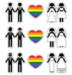 Lesbian brides and gay grooms icon 2 set with vector image vector image
