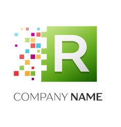 Letter r symbol in the colorful square vector