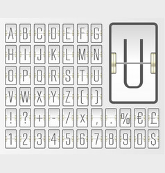 Light airport mechanical board abc font with vector
