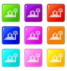 Luggage weighing set 9 vector