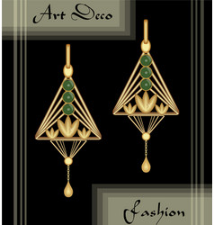 Luxury art deco filigree earrings jewel with vector