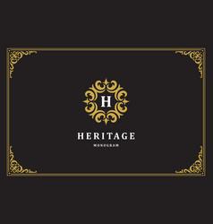 luxury vintage ornament logo monogram crest vector image