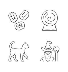 Magic linear icons set runestones fortune telling vector