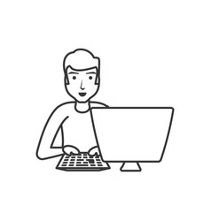 man with desktop computer isolated icon vector image