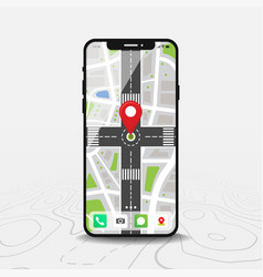 map map point smartphone with map city vector image