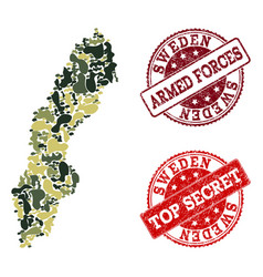 Military camouflage collage of map of sweden and vector