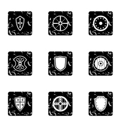 Military shield icons set grunge style vector