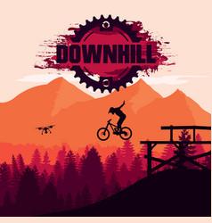 mountain biking downhill freeride extreme sport vector image