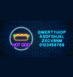 neon glowing sign of hot dog in circle frame with vector image