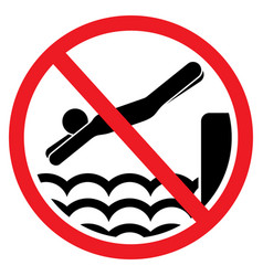 No jumping in the water sign vector