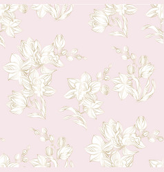 orchid seamless pattern in pastel and gold color vector image