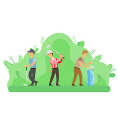 outdoor activity men playing golf with putters vector image