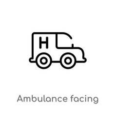 Outline ambulance facing left icon isolated black vector