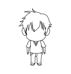 Outlined little boy anime hair style stand vector