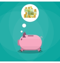 pink piggy bank dreaming about money vector image