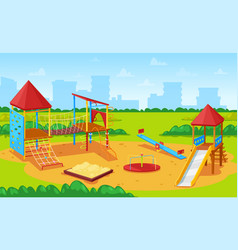 Playground for kids cityscape city yard park vector