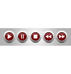 Purple metallic music control buttons white icons vector