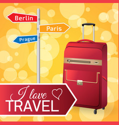 red travel bag vector image