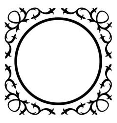 round frame with vintage corner vector image