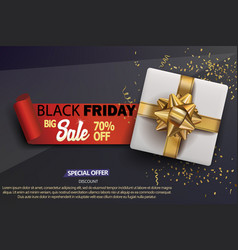 sale shop background with gift box and golden vector image