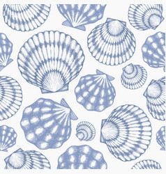 Scallop seamless pattern hand drawn seafood vector