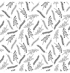Seamless pattern of black and white leaves vector
