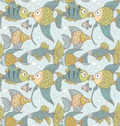 Seamless vintage ornament variety fish vector