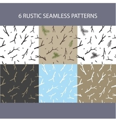 Set christmas rustic seamless pattern vector