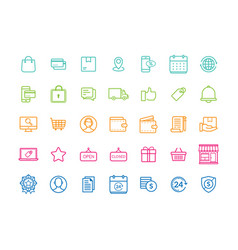 set e-commerce modern flat thin icons vector image