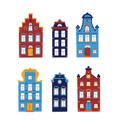 Set minimalistic traditional houses collection vector