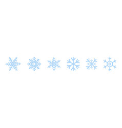 set of blue snowflakes icons black snowflake vector image