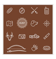 Set of outdoor hunting elements can be used as vector