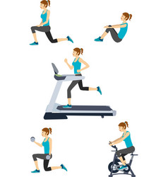 Set of woman in gym vector