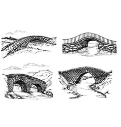 seth stone bridges over river drawing vector image
