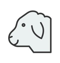 Sheep head farm animal filled style editable vector