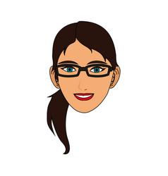 silhouette face girl cartoon vector image