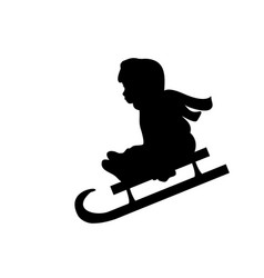 silhouette girl winter sport riding sleigh vector image