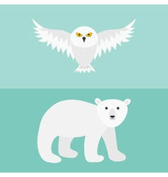 Snowy white owl flying bird with big wings polar vector