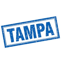 Tampa blue square grunge stamp on white vector