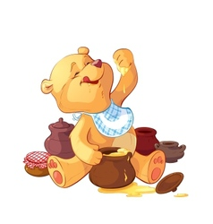 Teddy bear with a pot of honey vector