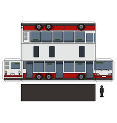 the paper model of a long city bus vector image