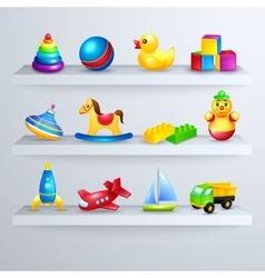 Toys icons shelf vector image
