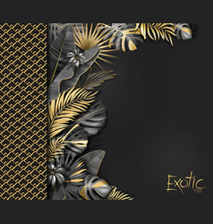 Tropical banner with gold and black exotic vector