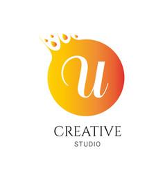 U letter logo design u icon colorful and modern vector