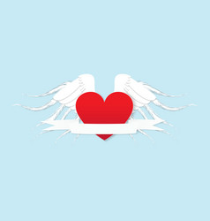 valentines day card red hearts with white wings vector image