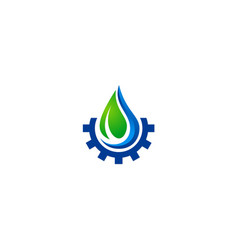 Water drop ecology gear nature logo vector