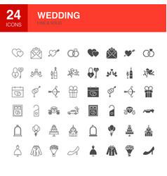 wedding line web glyph icons vector image