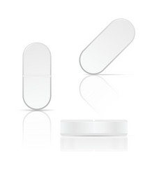 White oval pills on background vector