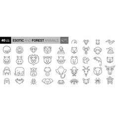 wild animals icons pack thin line creature icons vector image