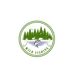 wild fishing logo design forest fish logo vector image